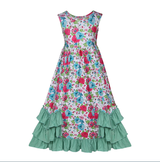 Girls Ruffles Maxi Dress Green Floral Print Cotton Christmas Dress