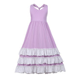 Girls Ruffles Maxi Dress Sundress Lavender Color - everprincess