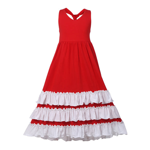 Girls Red Color Ruffles Backless Maxi Dress - everprincess