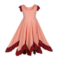 Girls Ruffles Dress Candy Color Fly Sleeve Twirly Skater Party Dress Light Coral Color