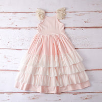 Girls Ruffles Maxi Dress Lace Lace Fly Sleeve Princess Dress - everprincess