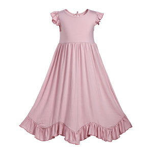 Girls Single Layer Ruffles Maxi Dress with Fly Sleeve - everprincess