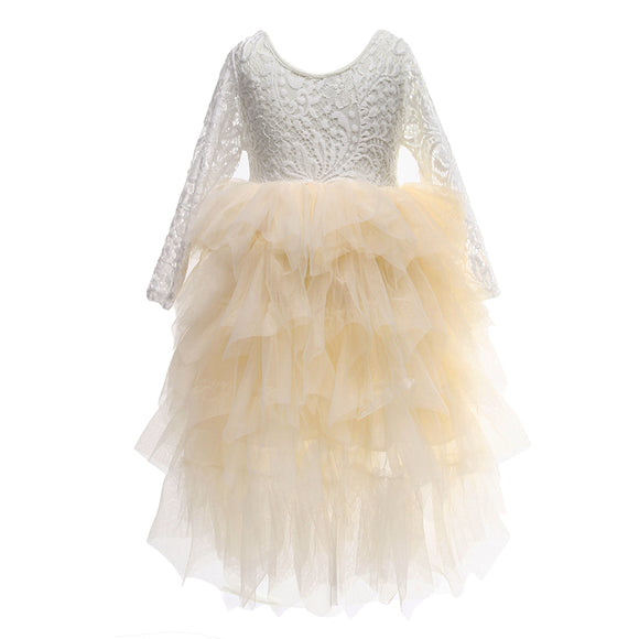 Flower Girls Tutu Dress Princess Lace Maxi Party Dress Beige Color - everprincess