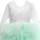 Flower Girls Tutu Lace Dress Princess Pleated Maxi Dress Mint Color - everprincess