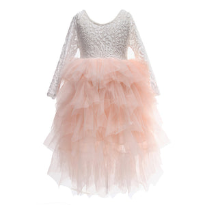 Flower Girls Tutu Tulle Lace Party Dress Pink Color Maxi Dress - everprincess