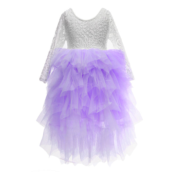 Flower Girls Tutu Party Dress Peony Lace Maxi Dress Lavender Color - everprincess