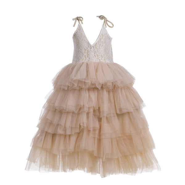 Flower Girls Champagne Tutu Straps Party Dress Maxi Lace Dress - everprincess