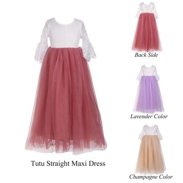 Princess Kids Girls Straight Tulle Maxi Lace Dress - everprincess