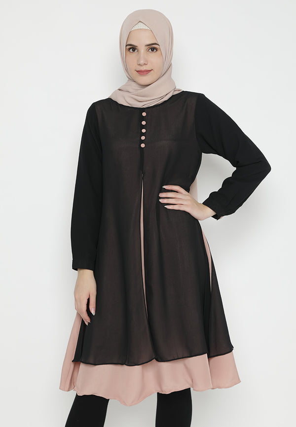 Khaira Tunik Black Peach