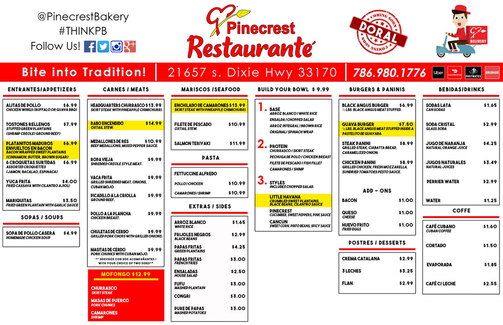 Pinecrest Bakery Restaurant Menu 2021