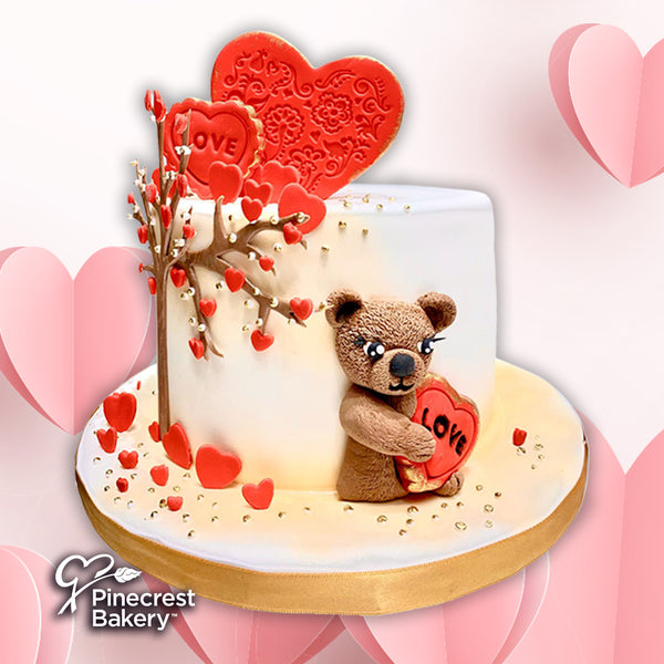 "Valentine Fondant ""Beary Fruitful Tree"" Cake"