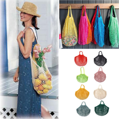 1PC Mesh Shopping Bag Net String Bag Fruit Storage Handbag Large Cotton Totes Foldable Cotton Mesh Woven Net Bag Reusable