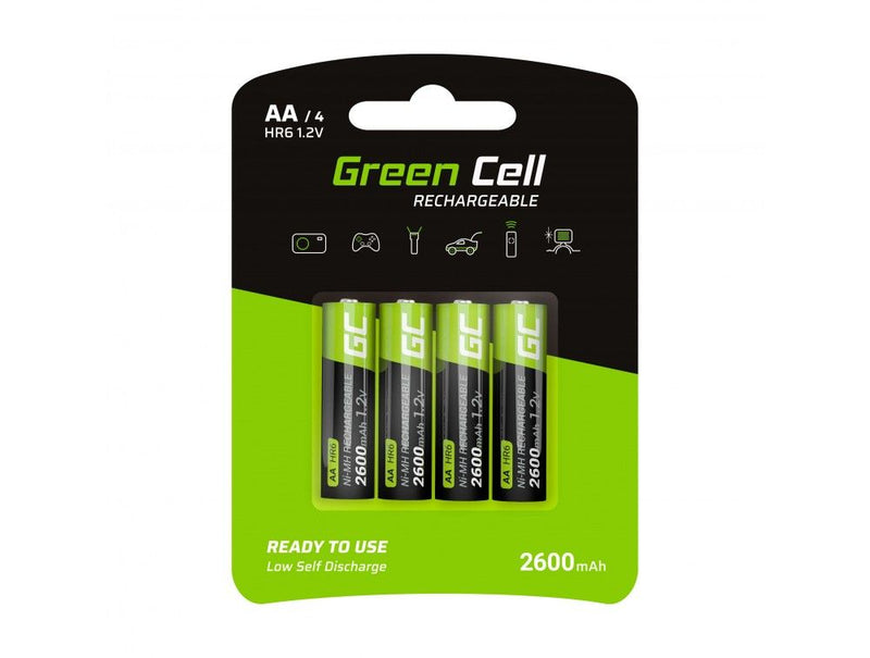 Green Cell, 4 x AA, Rechargeable Batteries, 2600mAh
