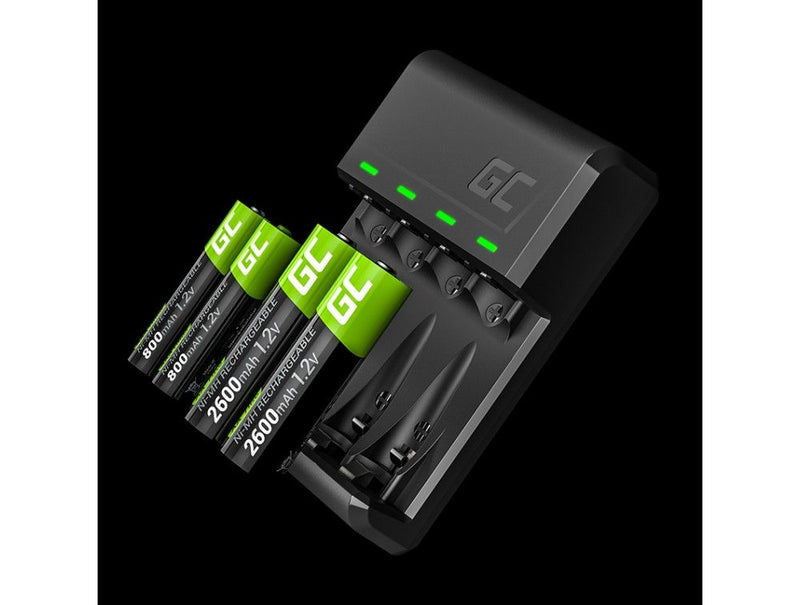 Green Cell, AA & AAA Battery Charger, with Micro-USB & Type-C
