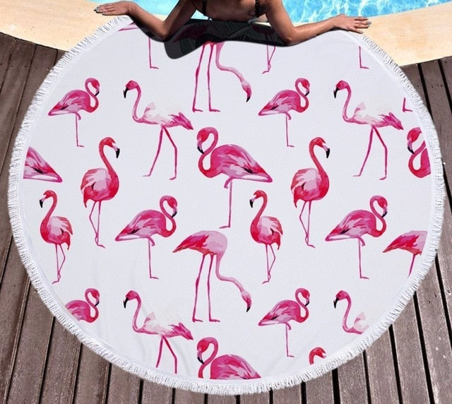 Flamingos - Round Beach Towel