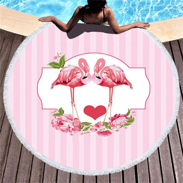 Flamingo Love - Round Beach Towel