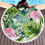 Good Morning - Round Beach Towel
