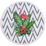 Flamingo Fern - Round Beach Towel