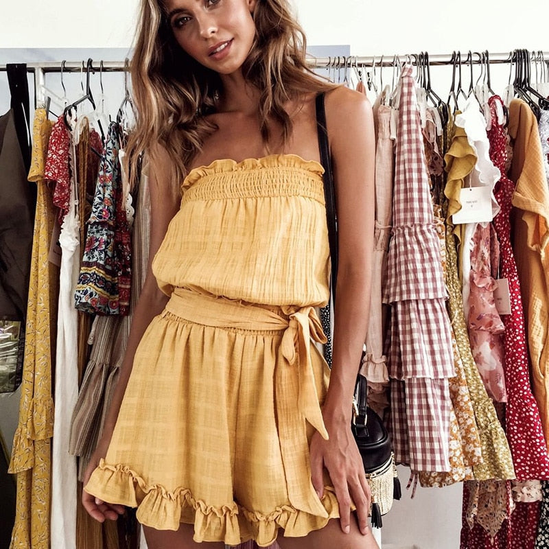 Palm Beach Romper / Yellow