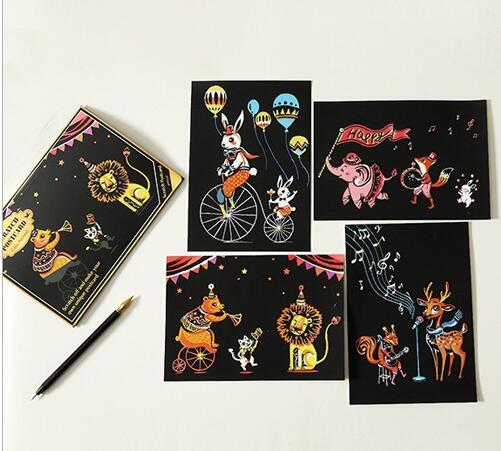 Circus Time Postcard Scratch Art Kit