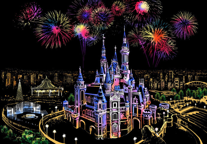 Colorful Dream Castle Scratch Art Kit For Adults