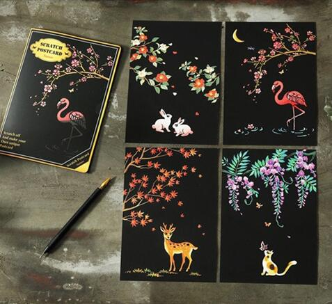 Cute Animals Postcard Scratch Art Kit