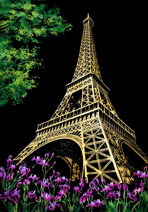 Eiffel Tower in Paris France Scratch Art Kit For Adults