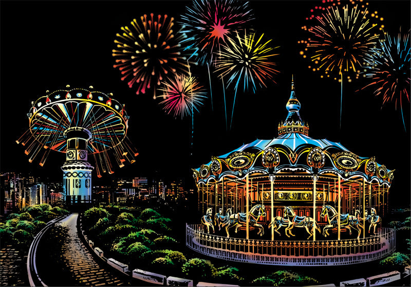 Fireworks and Ferris Wheel Scratch Art Kit For Adults