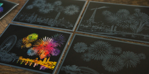 Fireworks Postcard Scratch Art Kit