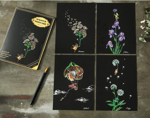Flowers of Fun Postcard Scratch Art Kit
