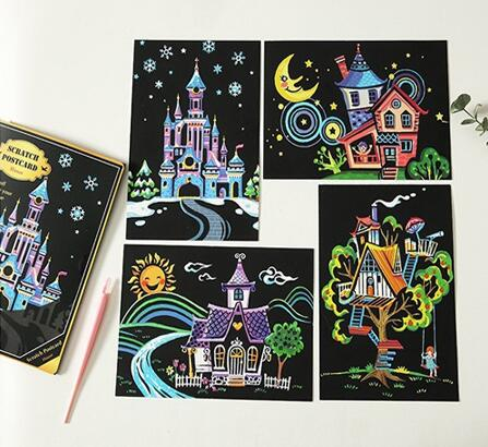 Houses and Castles Postcard Scratch Art Kit