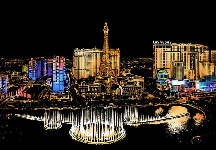 Las Vegas Strip Scratch Art Kit For Adults