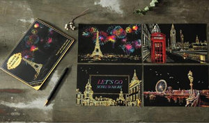 Famous Cities Postcard Scratch Art Kit