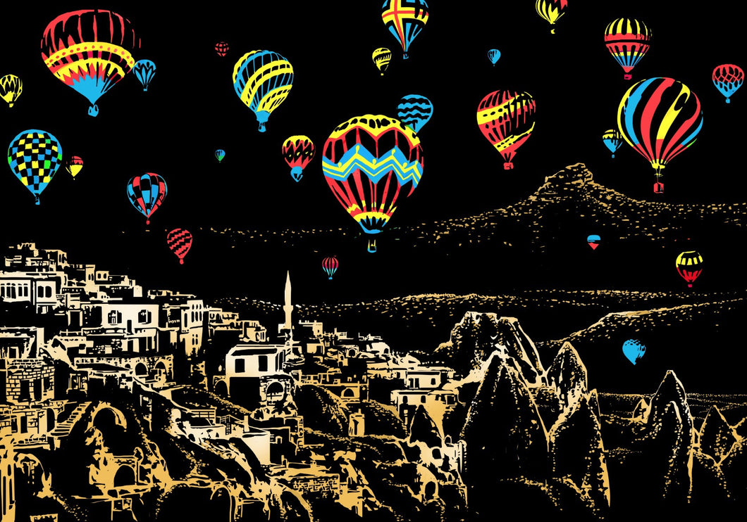Hot Air Balloons Scratch Art Kit For Adults