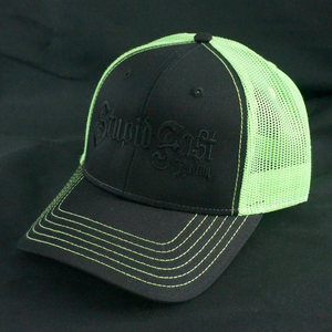 Black Out Neon Green Trucker
