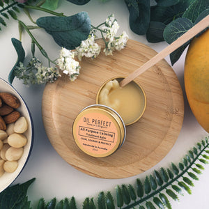 A multi-purpose beauty balm packed with powerful organic oils, wax, and butter. Perfect remedy for all skin concerns, ideal for travel. By Oil Perfect.