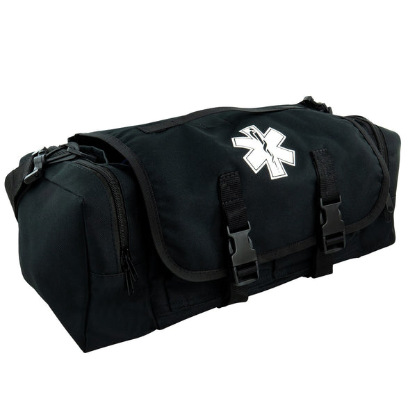 First Aid Responder Emergency Star of Life Logo Medical EMS Bag with Zippered Pockets & Shoulder Straps