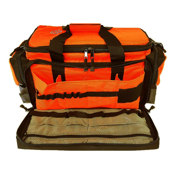 First Aid Deluxe EMS Elite Medical Trauma Bag EMT Paramedic with Shoulder Straps & Reflective Trim