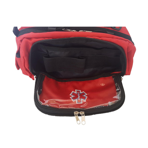 LINE2design Deluxe First Aid Nylon Star of Life Logo Fanny Pack EMT Paramedic Bag With Internal Pockets