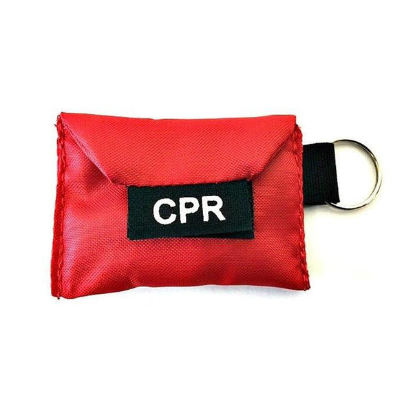 LINE2design Emergency Rescue CPR Face Shield Keychain Kit with Breathing Barrier & Vinyl Gloves - Red