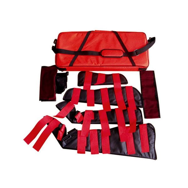 Heavy Duty Emergency Fracture Immobilization Arm and Leg Care Splints with Carrying Case - Red