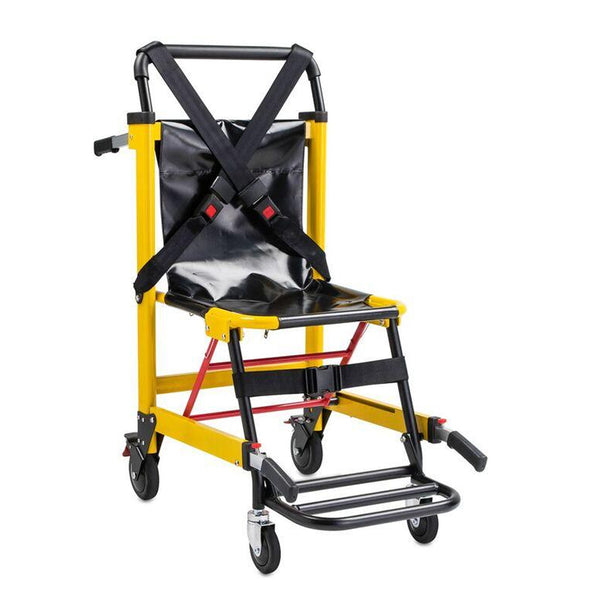 Deluxe Heavy Duty Emergency Medical Evacuation Stair Chair - 4 Wheel in Yellow