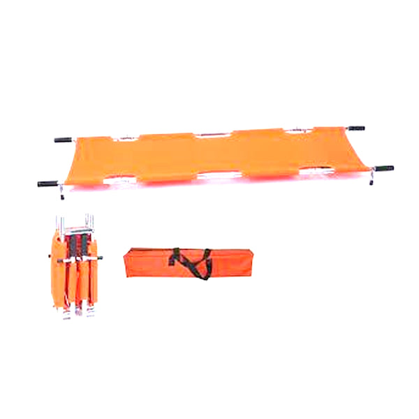 EMS Portable Stretcher Emergency Foldaway Medical Flat Four Steel Bars Stretchers with Grip Handles & Zippered Carrying Case - Orange