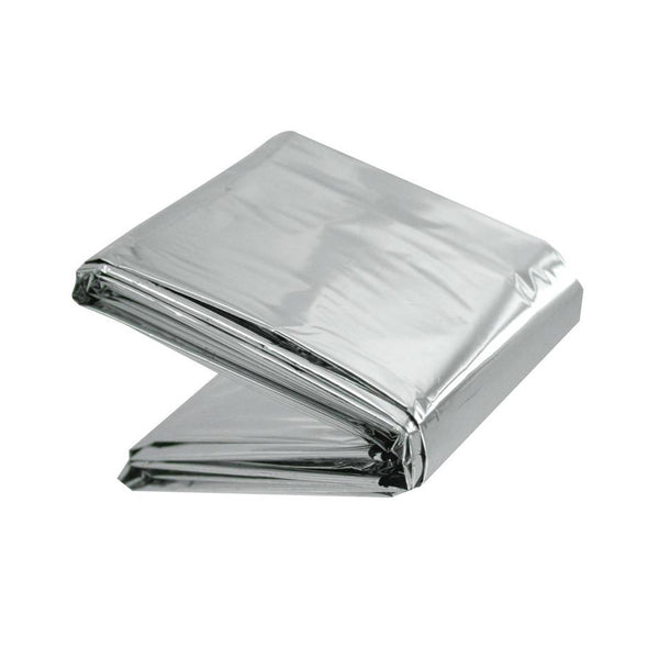 "Emergency Aluminized Silver Warm Thermal Mylar Blanket First Aid Rescue Waterproof & Windproof - 52"" x 84"""