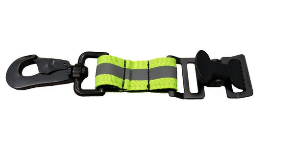 Reflective Green GloveLeash3 with Heavy Duty Metal Clip