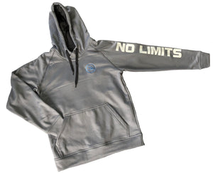 Grey Hoodie - No Limits, Small Arrow Left, Large Arrow Back