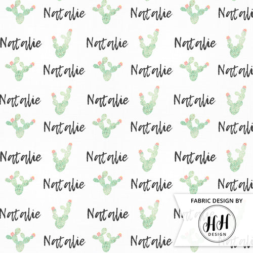 Watercolor Cactus Personalized Fabric