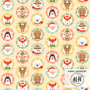 Cute Christmas Characters Fabric