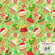 Load image into Gallery viewer, Christmas Cupcake Fabric - green