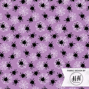 Halloween Spider Fabric - Purple